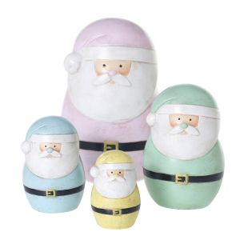 "Pastel Santa 6.5""/4.5""/3.5""/2.5""H"