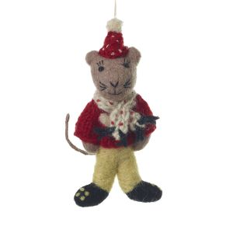 "E+E Sweater Ornament 6.5"" Mouse"
