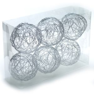 "Wire Sphere 4"" 6 pcs. Silver"