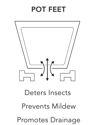 Pot Feet: Deters Insects, Prevents Mildew Promotes Drainage